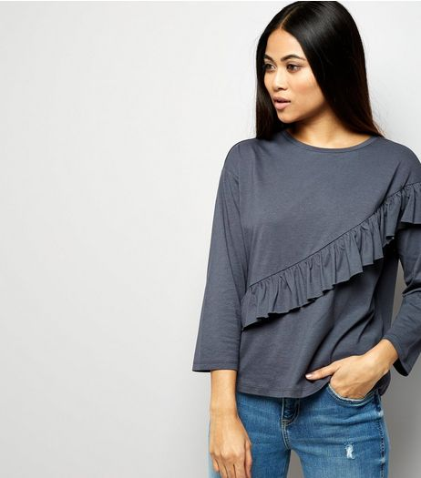Petite Dark Grey Diagonal Frill Trim 3/4 Sleeve T-Shirt | New Look