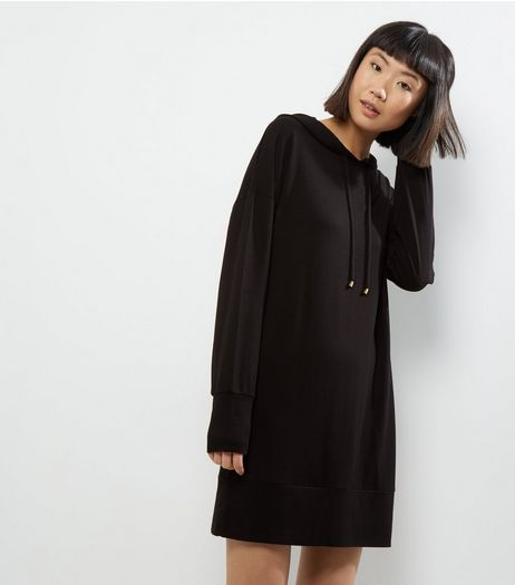Innocence Black Hooded Jumper Dress | New Look