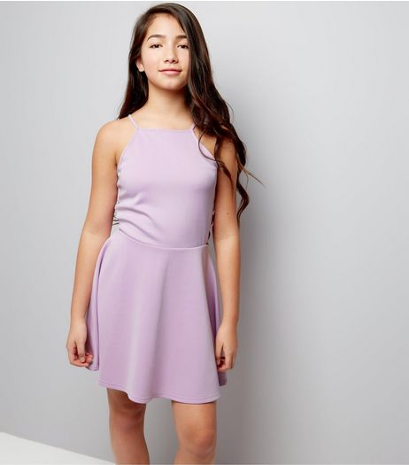Teens Lilac Lattice Side Scuba Skater Dress  | New Look