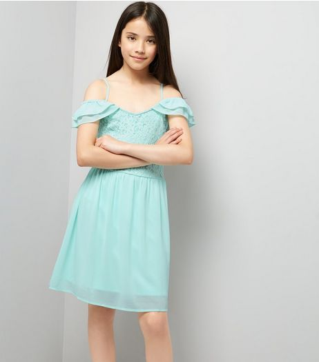 Teens Mint Green Frill Trim Cold Shoulder Skater Dress | New Look