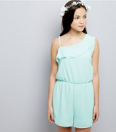 Teens Mint Green Asymmetric Frill Trim Playsuit | New Look