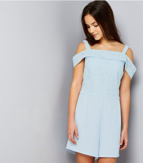 Teens Pale Blue Lace Cold Shoulder Playsuit | New Look