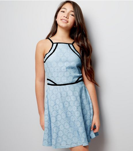 Blue Lace Contrast Trim Skater Dress | New Look