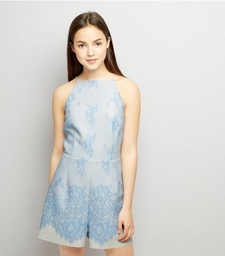 Teens Pale Blue Bonded Lace Scuba Playsuit | New Look