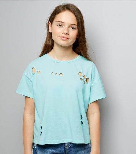 Teens Mint Green Ripped Short Sleeve T-Shirt | New Look