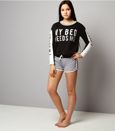 Teens Black I'm Sorry I Can't My Bed Needs Me Pyjama Set | New Look