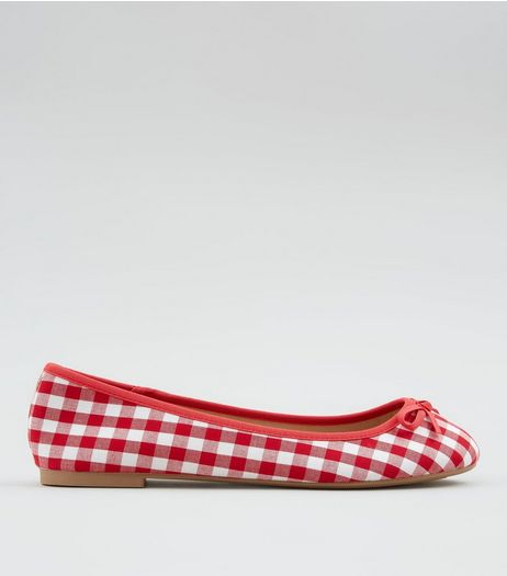 Wide Fit Red Gingham Ballet Pumps | New Look