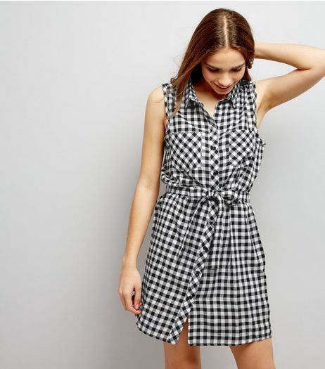 JDY White Gingham Check Print Sleeveless Dress  | New Look