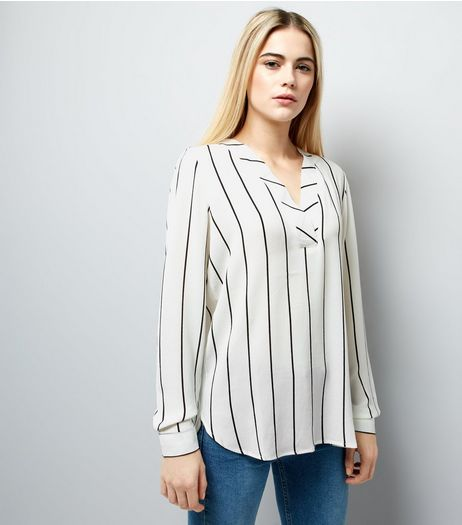 JDY White Stripe V Neck Blouse  | New Look