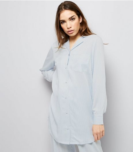 Blue Stripe Print Boyfriend Pyjama Shirt  | New Look