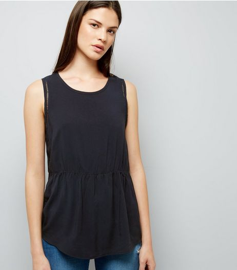 JDY Black Cut Out Trim Sleeveless Top  | New Look