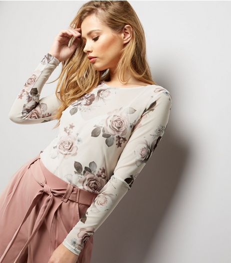 Cream Floral Print Long Sleeve Top  | New Look