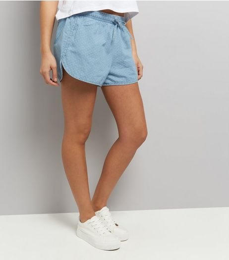 JDY Pale Blue Spot Print Woven Shorts  | New Look