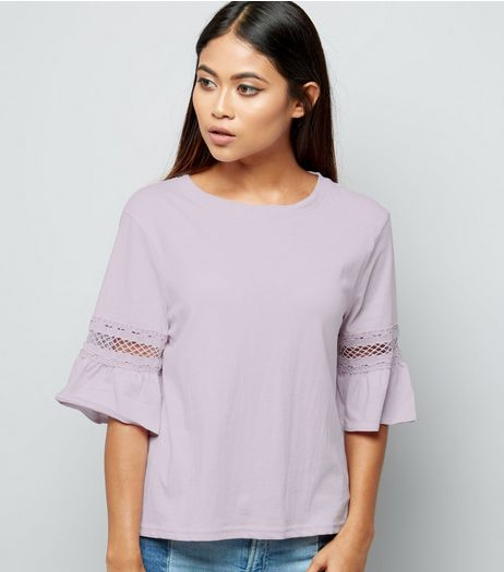 Petite Lilac Lace Trim Frill Sleeve T-Shirt | New Look