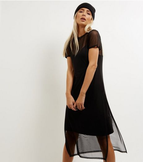 Black Mesh Split Side Midi T-Shirt Dress | New Look