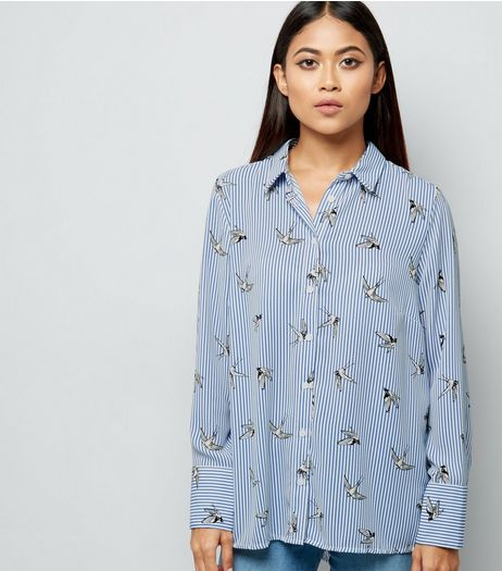 Petite Blue Stripe Bird Print Shirt | New Look