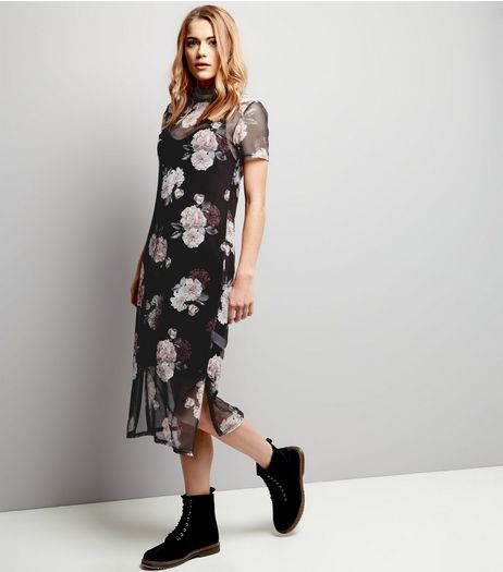 Black Rose Print Mesh Overlay Short Sleeve Dress | New Look