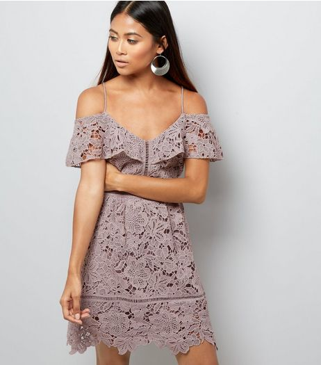 Petite Lilac Lace Cold Shoulder Mini Skater Dress | New Look