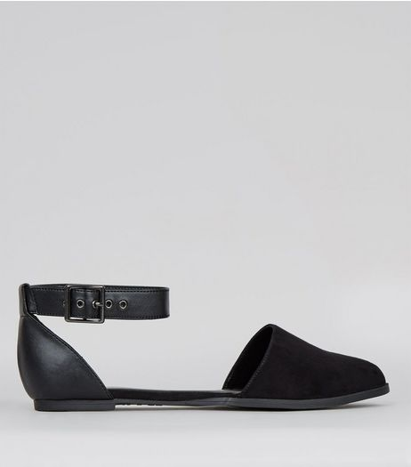 Wide Fit Black Ankle Strap Pointed Sandals  | New Look