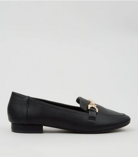 Teens Black Metal Bar Front Loafers | New Look