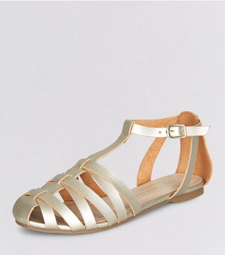 Teens Gold Caged T-Bar Sandals | New Look