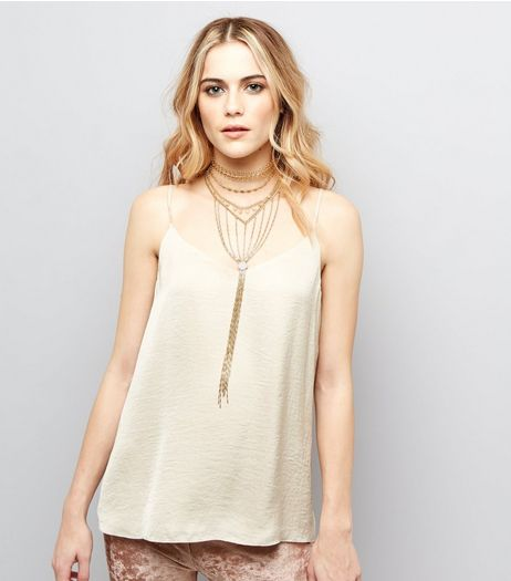 Gold Layered Stone Chain Drop Necklace | New Look