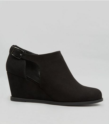 Teens Black Suedette Buckle Strap Wedge Shoe Boots | New Look