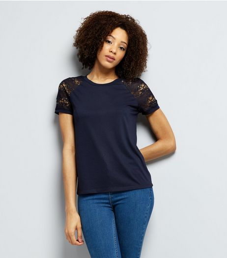 JDY Navy Sheer Sleeve Top  | New Look