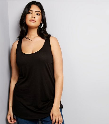 Curves Black Dip Hem Vest | New Look