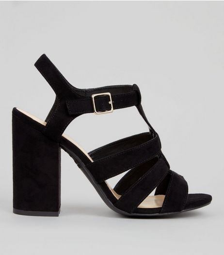Black Suedette Gladiator Block Heels | New Look