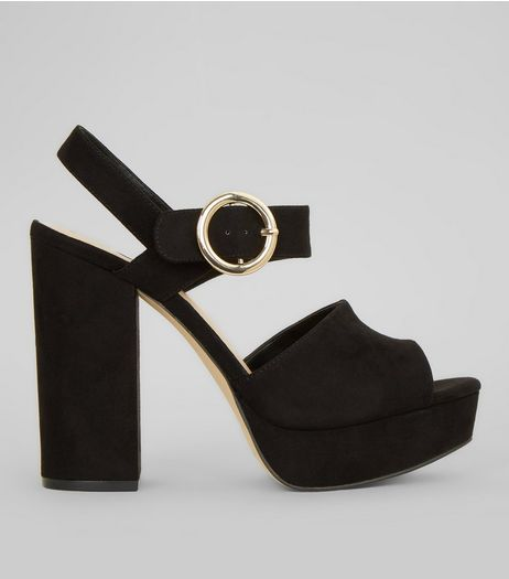 Black Suedette Buckle Strap Block Heels | New Look