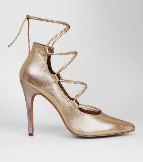 Gold Leather Ghillie Pointed Heels | New Look