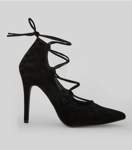 Black Suede Ghillie Pointed Heels | New Look