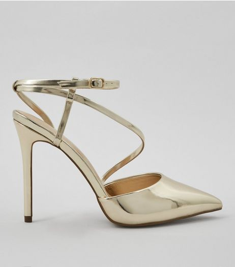 Gold Asymmetric Strap Top Pointed Heels | New Look
