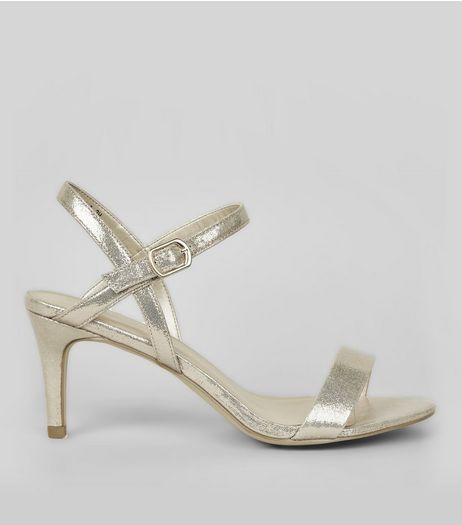 Gold Cross Strap Side Heels | New Look