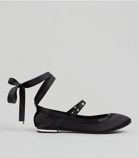 Black Satin Stud Strap Tie Up Pumps | New Look