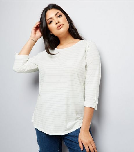 Curves Mint Green Stripe D Ring Sleeve Detail Top | New Look