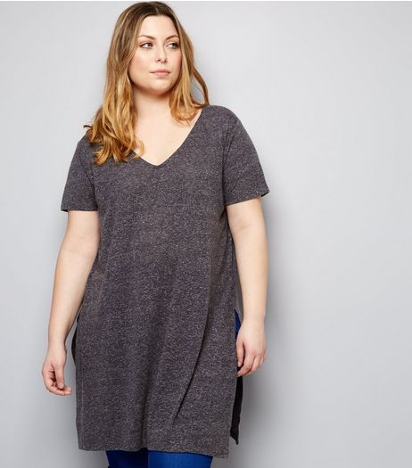 Curves Dark Grey Split Side Longline T-Shirt | New Look
