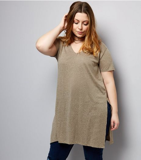Curves Olive Green Split Side Longline T-Shirt | New Look
