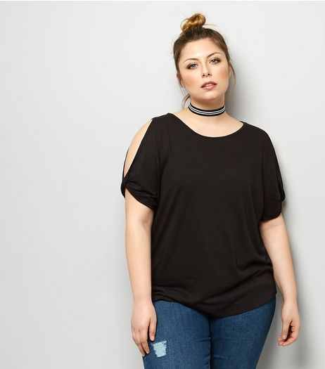 Curves Black Twist Sleeve Cold Shoulder T-Shirt | New Look