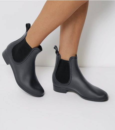 Black Chelsea Welly Boots | New Look