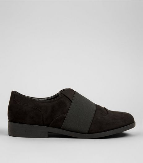 Black Suedette Elasticated Strap Top Shoes | New Look