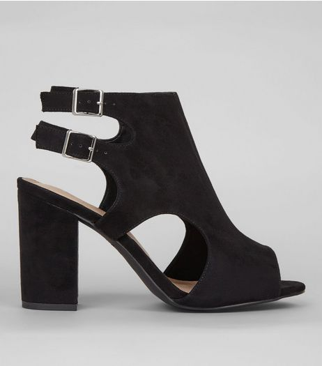 Wide Fit Black Comfort Suedette Double Strap Sling Back Heels | New Look