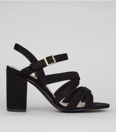 Wide Fit Black Comfort Suedette Strappy Heels | New Look