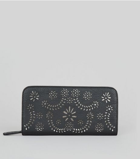 Black Cut Out Zip Around Purse  | New Look