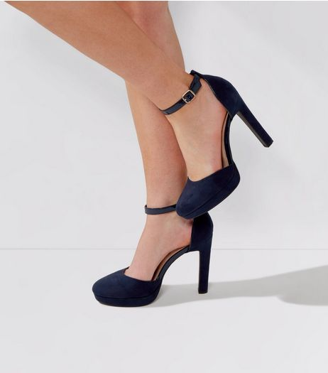 Wide Fit Navy Comfort Suedette Platform Heels | New Look
