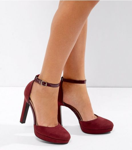 Wide Fit Red Comfort Suedette Platform Heels | New Look