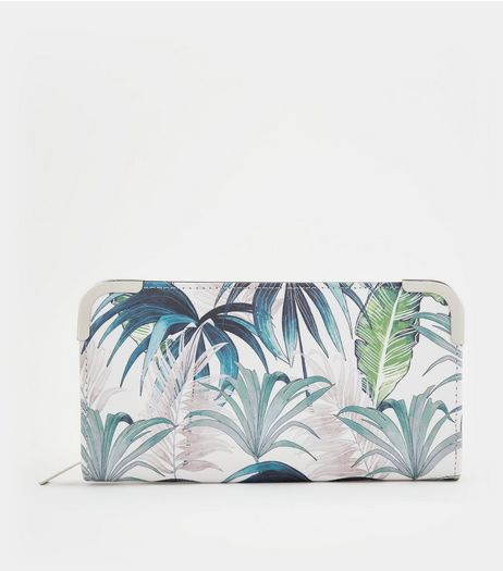 Green Palm Print Zip Around Purse | New Look