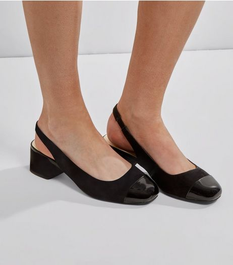 Wide Fit Black Comfort Suedette Sling Black Mini Heels | New Look