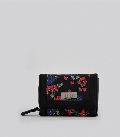 Black Small Floral Print Purse | New Look